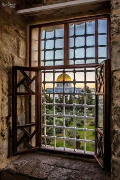 dome of the rock Jerusalem, Palestine. Photograph by Aya Shweiki. Palestine Art, Palestine History, Israel Country, Dome Of The Rock, Church Windows, Classic Paintings, Islamic Architecture, Jewish Art, Through The Window