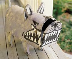 Dog mailbox Our mail lady is not fond of our dogs, this would really freak her out lol.