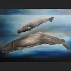 Adult sperm whale and it's baby / calf in a blue ocean seascape oil painting on canvas.    Whales / art / underwater / sea / marine biology / zoology / painter / nature / animals / physeter macrocephalus