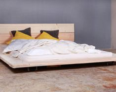 Notched hardwood timbers easily stack together with no tools to make a solid bed frame. Fully loaded with a steel center beam, planks to support mattress SprayCoated in satin lacquer . Timber Bed Frames, Timber Beds, Traditional Taste, Bed Frame And Headboard, Rustic Bedding, Country Style Homes, How To Make Bed, Industrial Chic, Hardwood