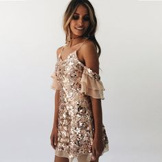 Off Shoulder Sequins Dress In Gold