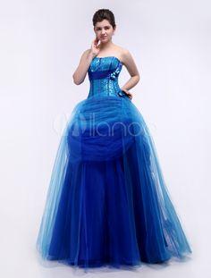 Blue Ball Gown Sweetheart Neck Quinceanera Dress - Milanoo.com
