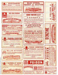 Vintage medische apotheek vergif etiketten instellen 3 afdrukbare JPG digitale…