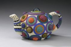 Lynne Sausele, beaded teapot. See the Spring 2013 issue of Fiber Art Now on a Teapot exhibit at Mobilia Gallery.