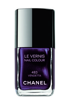 Chanel 'Vendetta'.  Launched in 2009, Vendetta is the be-all and end-all of purple polish. While the base itself is quite dark, Vendetta is overflowing with multi-hued shimmer, which turns it into the most breathtaking violet on your nails