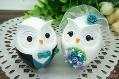 Custom Owl Love Bird Wedding Cake Topper-Country Bride And Groom Cake Toppers With Teal Flowers