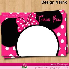 free minnie mouse printables | Minnie Mouse Thank You Note Printable, Red or Pink Birthday Party You ...
