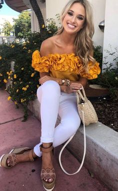 fashionable spring outfit / yellow off shoulder top + bag + white skinnies + platform sandals