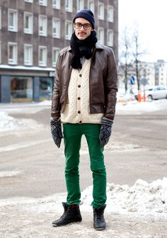 """Robin, 25    """"I'm wearing a cardigan handmade by some Norwegian ladies, Uniqlo jeans, a jacket probably from Weekday, the rest are gifts.  I like vintage and new clothes without logos. I guess my style is typical Stockholm. Colour combinations and cozy materials inspire me."""""""