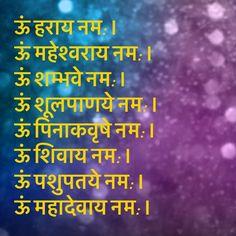 ऊं हराय नम: । ऊं महेश्वराय नम: । ऊं शम्भवे नम: । ऊं शूलपाणये नम: । ऊं पिनाकवृषे नम: । ऊं शिवाय नम: । ऊं पशुपतये नम: । ऊं महादेवाय नम: । Sanskrit Quotes, Sanskrit Mantra, Vedic Mantras, Hindu Mantras, Sanskrit Language, Indian Philosophy, Chakra Affirmations, Devotional Quotes, Spirituality Books