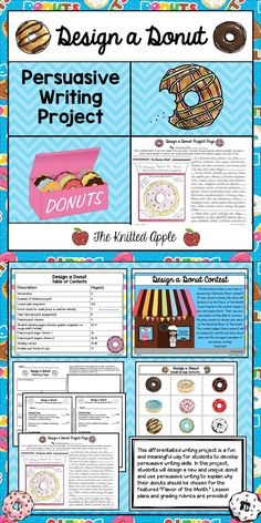 """This differentiated writing project is a fun and meaningful way for students to develop and practice persuasive writing skills. In this project, students will design new and unique donuts and use persuasive writing to explain why their donuts should be chosen for the featured """"Flavor of the Month."""""""