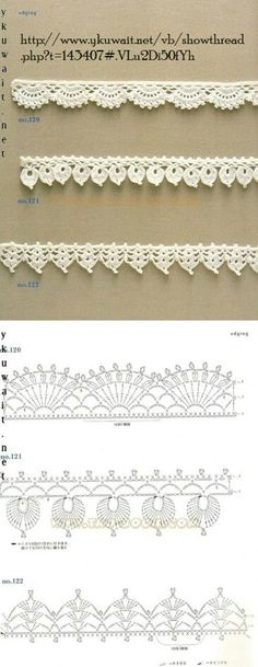 """diy_crafts-Crochet Lace Edging More by coleen """"Crochet Patterns Lace Crochet Lace Edging More Mehr"""", """"like about 3 inches wider"""", """"Handkerc Crochet Boarders, Crochet Edging Patterns, Crochet Lace Edging, Crochet Diagram, Crochet Chart, Crochet Trim, Diy Crochet, Crochet Designs, Crochet Doilies"""