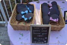 mickey or minnie DISNEY themed gender reveal party ideas, DIY mickey and Minnie ears to wear your gender guess!