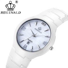 REGINALD venta caliente reloj de las mujeres de lujo nuevas señoras de cerámica regalos de cuarzo para la muchacha Rhinestone casual relojes de pulsera a prueba de agua 009
