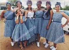 Shweshwe bridesmaid dresses 2019 - style you 7 African Bridesmaid Dresses, African Wedding Attire, African Print Dresses, African Print Fashion, African Attire, African Wear, African Fashion Dresses, African Prints, African Dress Styles