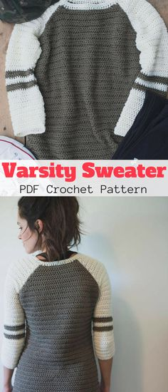 This is a crochet pattern for the Varsity Sweater. It makes for the perfect comfy casual sweater to pair with leggings or jeans! #varsitysweater #ad #crochet #pattern