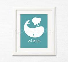Whale Nursery Decor - 8x10 - Nautical Nursery, Teal Toddler's Wall Decor, Kids Room Decor, Baby's Art Print, Ocean