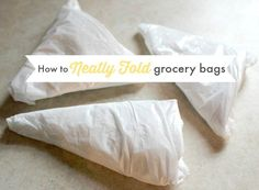 Plastic grocery bags have many great uses around the home but saving all those bags just contributes to the clutter in your cupboards. Well, go ahead and save your bags and say goodbye to that clutter too as I show you how to neatly fold grocery bags. Organization Hacks, Organizing Tips, Organising, Kitchen Organization, Homemade Grout Cleaner, Plastic Grocery Bags, Interior Decorating Tips, Making Life Easier, Homekeeping