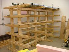 Wood storage rack , easy to make. - FineWoodworking - Wood storage rack , easy to make. Lumber Storage Rack, Wood Storage Rack, Lumber Rack, Barn Storage, Wood Rack, Workshop Storage, Tool Storage, Garage Storage, Workshop Bench