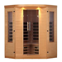 Canadian Spa Company Aspen 4 Person FIR Corner Sauna with 7 Carbon Far Infrared Heaters Infrared Heater, Infrared Sauna, Canadian Spa, Tall Cabinet Storage, Locker Storage, Aspen Wood, Chromotherapy, Built In Bench, Exterior Lighting
