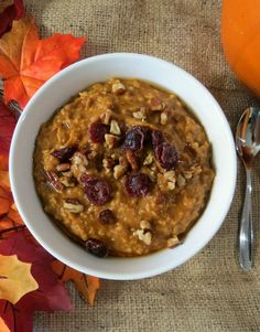 Pumpkin Oatmeal in a Crockpot   - A healthy, creamy, thick, hearty, slow cooked oatmeal made with pumpkin, vanilla and spices.