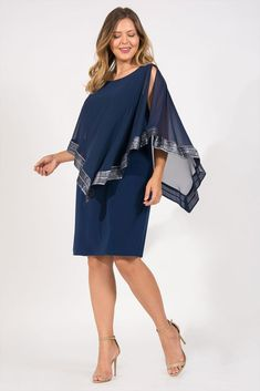 98e03ebe063d SL Fashion Short Plus Size Mother of the Bride Cape Dress