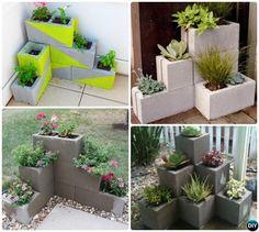 DIY Corner Cinder Block Simple Cinder in Block Garden Projects Cinderblock Planter, Wooden Garden Planters, Diy Planters, Planter Ideas, Planter Boxes, Garden Fencing, Garden Beds, Gravel Garden, Garden Chairs
