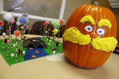 from pumpkin contest. dr. suess  decorated pumpkin - The Lorax. how cute!