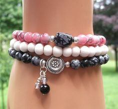 Pink, Black and White Bracelet, Gemstone Bracelet, Nature Bracelets, Boho Chic Bracelet, Natural Bracelet, Beaded Stretch Bracelet on Etsy, $36.95