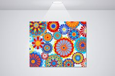 Bright Multi-Color Floral Pattern This is a giclee of an original hand painted glass art piece. The colors are super vibrant in this beautiful and fun floral pattern. You could rock this piece in your kitchen, office, bathroom or bedroom. It will really add a pop of color to any space and bring a smile to your face every time you glance at it.www.etsy.com/shop/NocturnalPandie