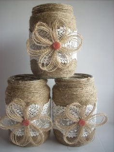 This listing is for a set of 3 hand-decorated jar. Decorated with jute, lace and. This listing is for a set of 3 hand-decorated jar. Decorated with jute, lace and handmade flower fa Wine Bottle Crafts, Mason Jar Crafts, Mason Jar Diy, Burlap Flowers, Fabric Flowers, Burlap Lace, Hessian, Wedding Jars, Rustic Wedding