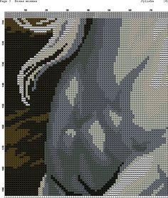 GRAFICOS PUNTO DE CRUZ GRATIS : CABALLOS(36)white upper horse running in storm