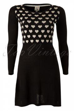 Yumi - 60s Divine Hearts A-line Dress in Black