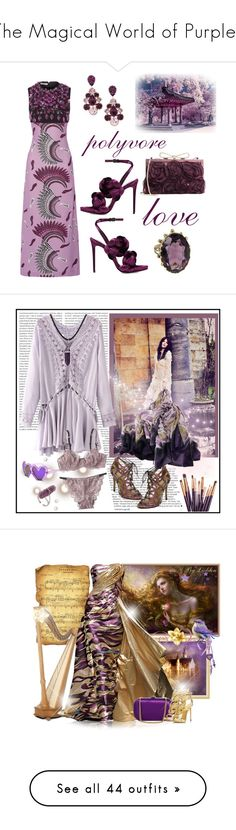 """""""The Magical World of Purples"""" by kimberlydalessandro ❤ liked on Polyvore featuring Miu Miu, L. Erickson, Marco de Vincenzo, Valentino, Oris, art, Once Upon a Time, Elie Saab, Narciso Rodriguez and Jimmy Choo"""