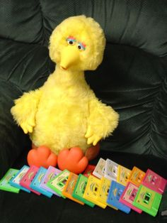 RESTORED IDEAL TALKING STORY MAGIC BIG BIRD WITH ALL HIS 19 STORY TAPES/NEST