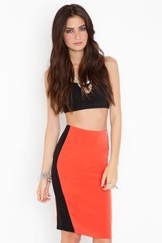 Tangerine pencil skirt...I would love to wear this!