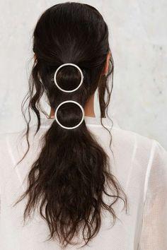Full Circle Hair Clip Set - Silver