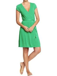 Womens Cap-Sleeved Wrap Dresses