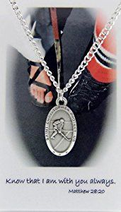 Boys St. Christopher Ice Hockey Medal with Prayer Card  http://electmejewellery.com/jewelry/childrens-jewelry/boys-jewelry/boys-st-christopher-ice-hockey-medal-with-prayer-card-com/
