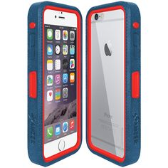 Amzer® CRUSTA™ Rugged Case Blue on Red Shell Tempered Glass with Holster for iPhone 6 Plus