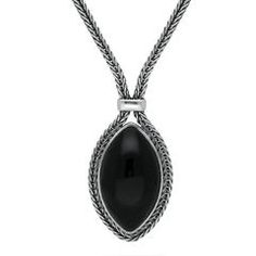Silver And Whitby Jet Foxtail Portrait Marquise Necklace #foxtail #silver #whitbyjet