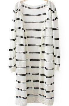 White Long Sleeve Striped Knit Long Sweater pictures
