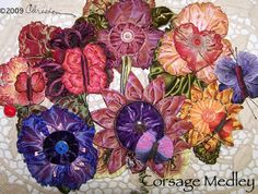 corsages made from ribbon worked flowers and leaves! The store on the corner Christen Brown's