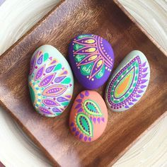 bright paisley pastel painted rocks