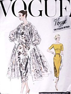 1950s Slim Dress and Beautiful Full Swing Back Coat Pattern Vogue Couturier Design 915 Vintage Sewing Pattern Stunning style Day or Evening Bust  36