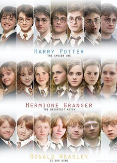 Harry Potter Hermione Granger and Ron Weasley through the years of Hogwarts Estilo Harry Potter, Mundo Harry Potter, Harry Potter Cast, Harry Potter Love, Harry Potter World, Harry Potter Memes, Harry Potter Timeline, Harry Potter 3rd Movie, Howard Harry Potter