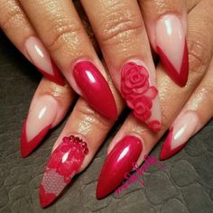 Red Lace Stiletto Nails