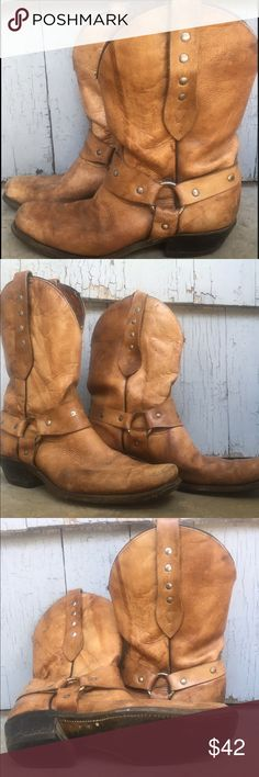 Cowboy Harness Studded Boots  men 8.5 women 10.5 These boots are worn in that perfect, authentic movie quality way where it looks like they belong to a bada*s cowboy or cowgirl. They are likely from the 70s, brand unknown, and require a slim ankle. One heel is showing minor wear (see pic). These are used and worn but have great integrity. Leather is in good shape despite the character of the shoe. Shoes Boots
