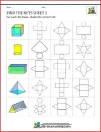 Geometry Nets Worksheets - Find the nets sheet Select the correct net for a - Unterrichtsfächer 3d Shapes Worksheets, Math Worksheets, Math Activities, Math Resources, Geometry Formulas, Mathematics Geometry, Fractions, 3d Geometric Shapes, Solid Shapes