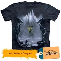 This Lost Valley T-Shirt features the artwork of Meiklejohn Graphics. The fantasy image features wizards and brave knights daring to venture into the Lost Valley of Dragons. Our fantasy and medieval T-shirts are individually hand dyed. Fantasy Dragon, Dragon Art, Dragon Bones, Fantasy World, Fantasy Art, Dragon Oriental, Breathing Fire, Dragons, Kobold